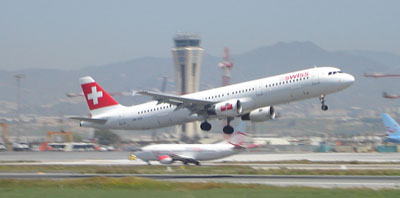 swiss airline plane taking off malaga airport