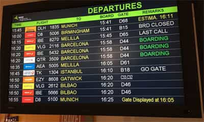 Information about departures from the airport