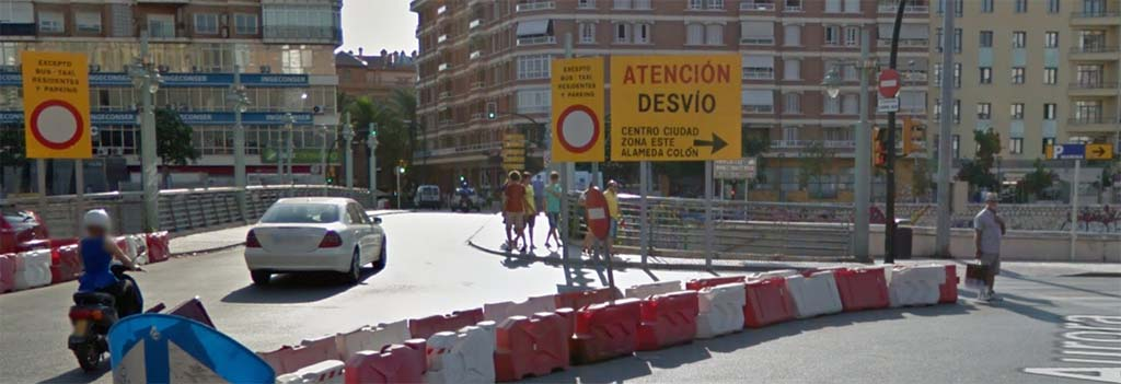Road detour due to construction works in Málaga