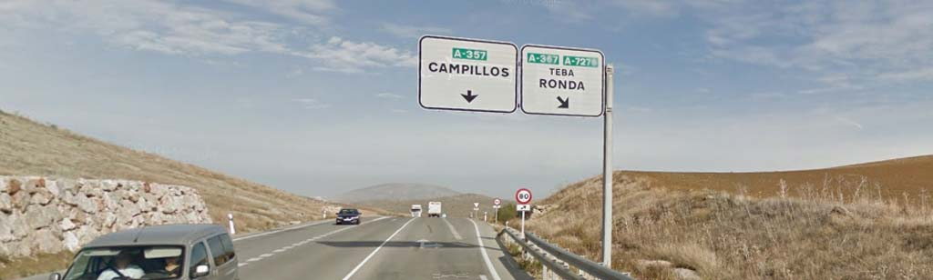 Exit towards Ronda on the A-357 road