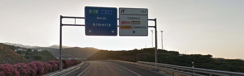 Exit to Torrox Costa and Competa