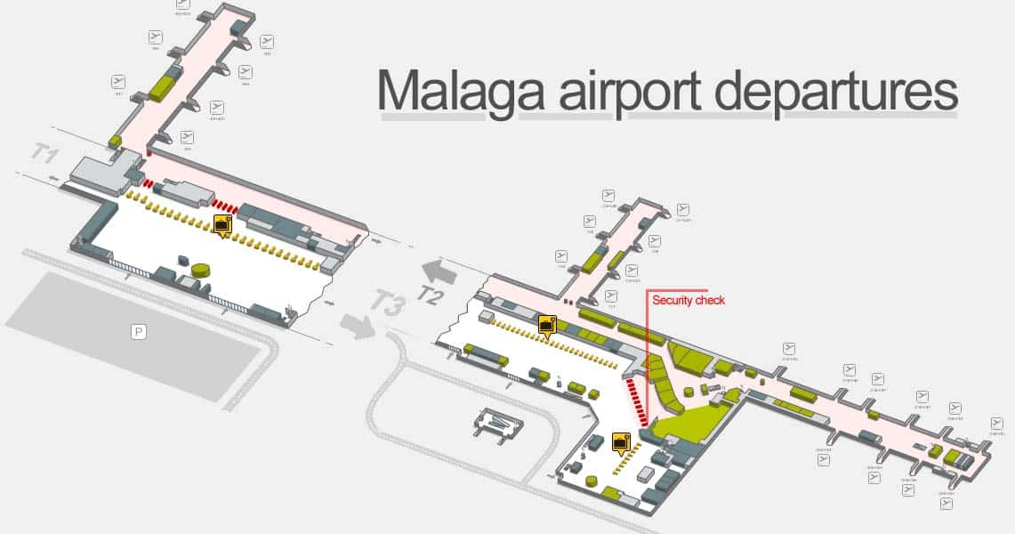 Map of Malaga airport departures
