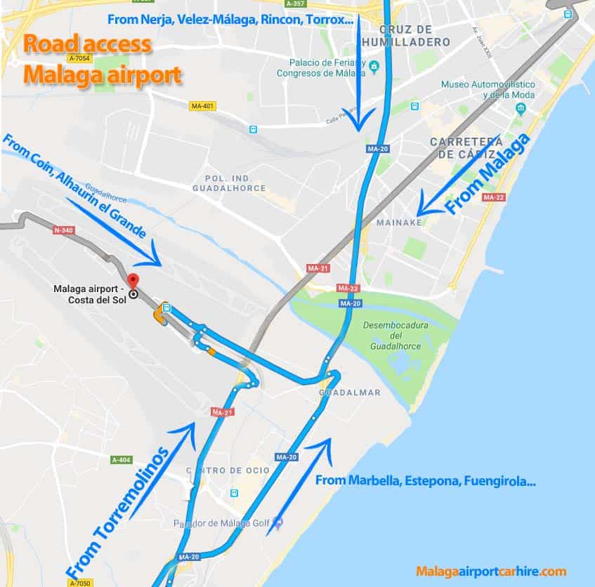 How to get to Malaga airport location and distances